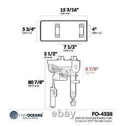 1320 Lb. Grue De Hoist Électrique Avec Télécommande 20ft Fo-4338-1