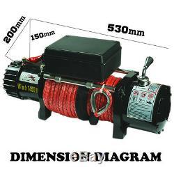 14500lbs 7.25ton Treuil Électrique Télécommande 12v Camion Dyneema Corde 4x4