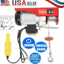 2200lb Électric Wire Hoist Winch Hoist Crane Lift 110v 40ft Avec Télécommande