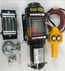 24v 4000lb Treuil Électrique Vtt Remorquage Camion Remorque Bateau Kit De Corde En Acier