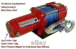 3500lb New Runva Vtt Utv 12v De Remorquage De Récupération Treuil Électrique Avec Le Pack Synthétique Sd