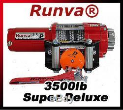 3500lb New Runva Vtt Utv 12v De Remorquage De Récupération Treuil Électrique Forfait Super Deluxe