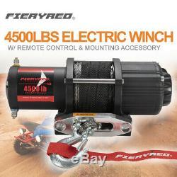 4500lbs Treuil Électrique Avec Corde Synthétique Télécommande Pour Atv Offroad Ute 4 Roues Motrices
