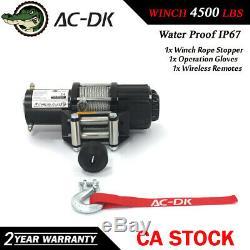Ac-dk 12v DC Treuil Électrique 4500 Lbs Vtt Treuil Avec Câble En Acier Et Stopper Hook