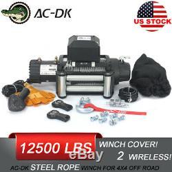 Ac-dk 12v Étanche 12500lb Treuil Électrique Ip67 Avec Corde En Acier Et Winch Cover