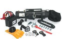 Ac-dk 12v Noir Ip67 Treuil Électrique 9500 Lbs Avec Corde Synthétique Et Winch Cover