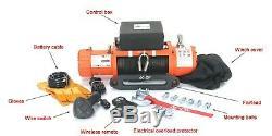 Ac-dk 12v Orange Électrique Treuil Ip67 Étanche Avec Corde Synthétique