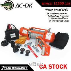 Ac-dk 12v Orange Treuil Électrique 12500 Lbs Étanche Ip67 Avec Corde Fil D'acier