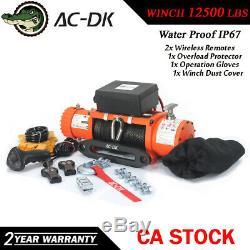 Ac-dk 12v Orange Treuil Électrique 13500 Lbs Étanche Ip67 Avec Corde Synthétique