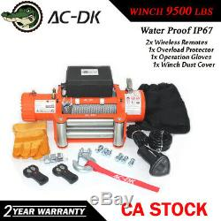 Ac-dk 12v Orange Treuil Électrique 9500 Lbs Étanche Ip67 Avec Corde Fil D'acier