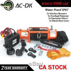 Ac-dk 12v Orange Treuil Électrique 9500 Lbs Étanche Ip67 Avec Corde Synthétique