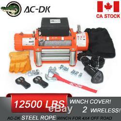 Ac-dk 12v Orange Treuil Électrique Étanche Ip67 Avec Fil D'acier De Corde