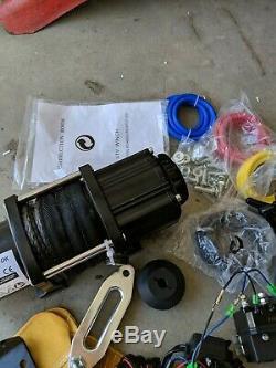Ac-dk 12v Treuil Électrique 4500lbs Atv Treuil Avec Corde Synthétique Et Stopper Hook