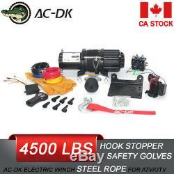 Ac-dk 4500 Lb Vtt Utv Treuil Électrique 12v Avec Corde Synthétique Et Crochet Stopper