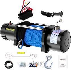Anbull Electric 12v 13000 Lb Winch Synthetic Rope Wireless Remote Remorquage Atv Utv