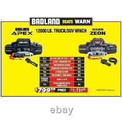 Badland Apex Synthétique 12,000lb Winch Sans Fil Tout Nouveau Dans La Boîte