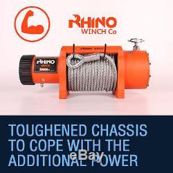 Camion Électrique Rhino Winch + Plaque De Montage Du Treuil De Récupération 20000lb 12v / 24v 4x4