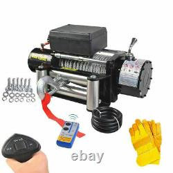 Classique 12500lbs 12v Electric Recovery Winch Truck Suv Wireless Remote Withgloves