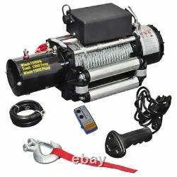 Electric Winch Remote Control Wireless Electric Motor Steel Cable 13000lbs 12v