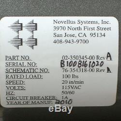 Novellus 02-350345 Baldor Palan Électrique Par Câble Fil D'acier Treuil 100lbs + Fingers