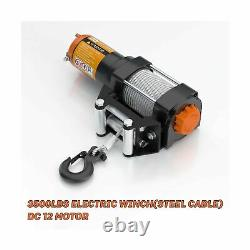 Orcish 3500-lb Electric Steel Cable Line Atv/utv Winch Kit With Wireless Remo
