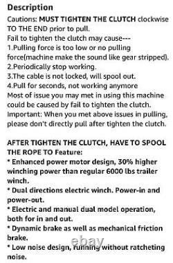 Remorque Megaflint Winch, Treuil Électrique Réversible, Pour Bateaux Jusqu'à 6000 Lbs. 12v