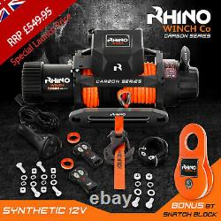 Rhino Electric Recovery Winch 12v 13500lb Carbon Series 4x4 Synthétique / Dyneema