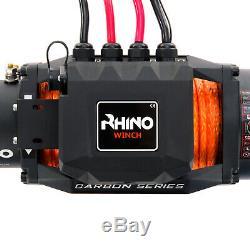 Rhino Électrique De Récupération 13500lb Carbon Series Treuil 4x4 De Synthétique / Dyneema