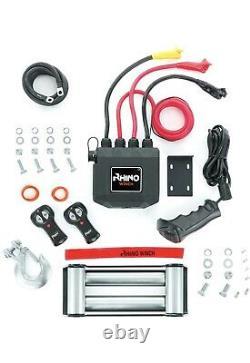 Rhino Winch 13500lb Treuil De Récupération Électrique 12v Heavy Duty Steel Cable Kit Nouveau
