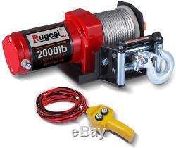 Rugcel Électrique 12v 2000lb / Ligne Simple Winch 907 KG Étanche