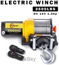 Rugcel Winch 12v 3500lbs / 1587kg Électrique Atv 2 Télécommande Wireles Acier Cabl