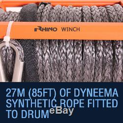 Treuil De Récupération Électrique 12v 13500lb 4x4 Dyneema Corde Rhino + Plaque De Montage