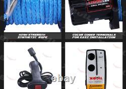 Treuil Électrique 12v 12000lb Synthétique Blue Rope Hors Route Jeep Camion 4wd X-bull