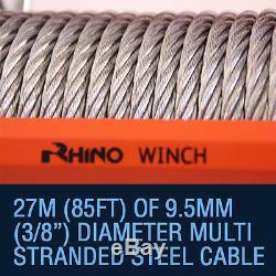 Treuil Électrique 12v / 24v, Récupération De Camion De Câble En Acier De 20000lb, Rhino Résistant