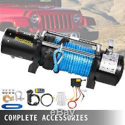 Treuil Électrique 12v 8000lbs Synthétique Câble Camion De Remorquage Hors Route 4 Roues Motrices