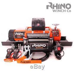 Treuil Électrique 12v Rhino 13500lb, Usage Intensif, Récupération 4x4 + Plaque De Montage