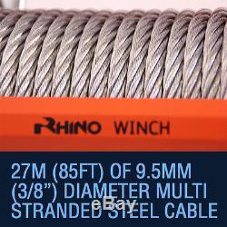 Treuil Électrique 4x4, Rhino 24v 13500lb, Récupération De Voiture Robuste + Plaque De Montage