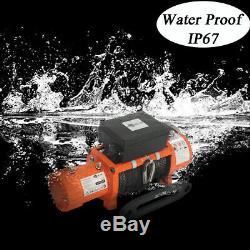 Treuil Électrique Orange Ac-dk 12v 12500 Livres Ip67 Imperméable Avec Corde Synthétique