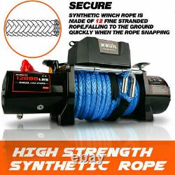 Voiture Winch 12000lb Synthetic Rope Waterproof Ip67 Wireless Handheld Remote USA