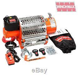 Winch Electrique 24v Récupération 4x4 20000 Lb Winchmax Original Orange À Distance Winch