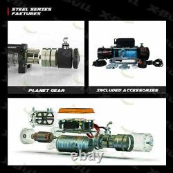 X-bull 13000lbs 12v Electric Winch Synthetic Rope Jeep Rewing Truck Off Road 4x4